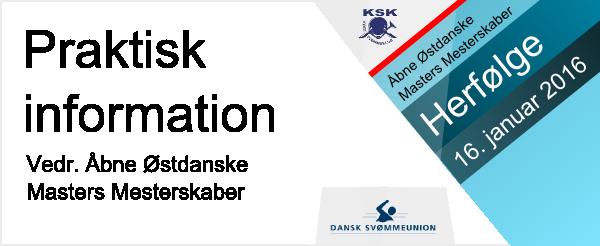�stdanske Masters                                               Mesterskaber 2016                                               -Herf�lge